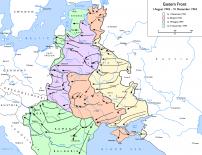 Mapa postępów wojsk sowieckich w latach 1943-44, za Wikipedia.