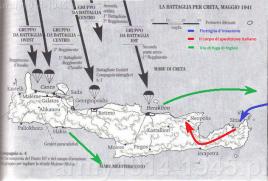 Mapka przedstawiająca działania na Krecie.