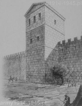 Rysunek przedstawiający próbę rekonstrukcji wyglądu starożytnych murów obronnych wykonany przez T. Finamore w 1942 roku.