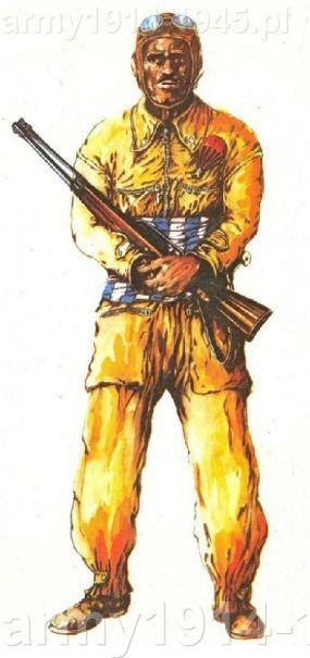 """Libijski spadochroniarz Ascari – akwarela. Opublikowany na str. 232, Tom I, """"Gli Anni '40"""", Storia Illustrata della Guerra Italiana, Ciarrapico, wydanie Rzym 1980"""