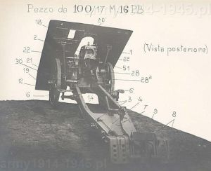 Haubica górska 100/17 Mod.916 widziana od tyłu przed demontażem.