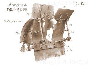 Tarcza pancerna - widok od tyłu. Działo opisane jako 100/17 M.14 P.B.