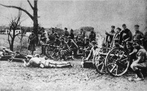"""Przestarzałe armaty górskie 7 cm Gebirgskanone M.75 były pierwszym działem Legionów Polskich a później """"odziedziczyła je"""" artyleria górska."""