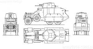 Najbardziej prawdopodobny rysunek techniczny samochodu pancernego Fiat 611B (Fiat-Ansaldo)