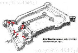 Orientacyjne kierunki wykonywania zdjęć dla zamieszczonych fotografii od 16 do 23. Jak widać z planu fortyfikacji rycerze zakonni najmniej zagrożeni czuli się od strony morza.