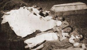 Ofiary napadu UPA w kwietniu 1943 r. na majątek Chobułtowa w powiecie włodzimierskim na Wołyniu. Archiwum Ewy Siemaszko.