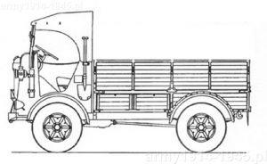 Rzut boczny samochodu ciężarowego SPA CL 39.