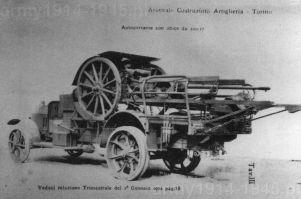 Już od 1919 r. prowadzono badania możliwości motoryzacji haubic 100/17. Na zdjęciu ze stycznia 1922 r. Jednym z pojazdów użytych do testów były ciężarowe Fiat 18.