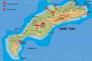 Strzałkami zaznaczono miejsca desantów morskich wojsk niemieckich. Spadochrony oznaczają miejsca lądowania desantów powietrznych. Żółta strzałka wskazuje miejsce rozstrzelania włoskich oficerów. (Isola Coo)