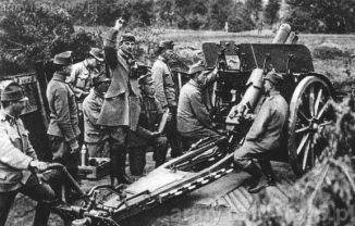 Austro-węgierska haubica w akcji.