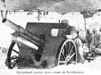 Polska haubica w rękach sowieckich. Tu używana w wojnie zimowej przeciwko Finom.