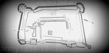 Plan fortecy z zaznaczonymi cyframi ważnymi obiektami omawianymi w tekście.