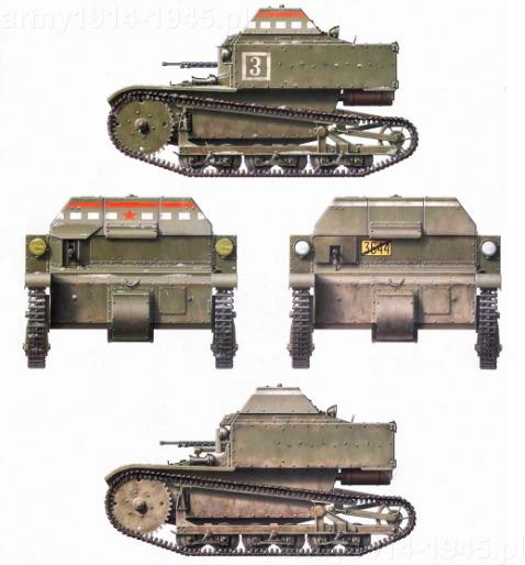 T-27 z 1 batalionu, 2 kompanii pancernej w malowaniu z 1932 r. (góra) i 45 korpusu zmechanizowanego z 1930 r. (dół)