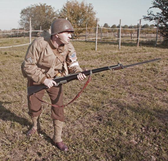 Postać kaprala z 1. Batalionu Rangersów Majora Darby'ego w czasie Operacji Torch (Pochodnia), 8 listopada 1942 roku.