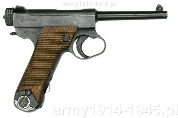 Pistolet Typ 14 Nambu. Broń ta, choć produkowana w dużych ilościach uchodziła za wyjątkowo złej jakości.